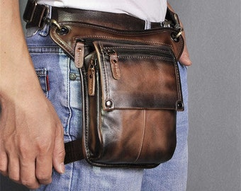 Motorcycle Purse Leather Thigh Pouch Shoulder Bag Handbag with \u0421rocodile Embossing Unisex