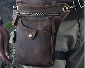 Full Grain Leather Leg Bag First Layer Leather Motorcycle Waist Bag Male Knight Bull Head Bag for Men Women