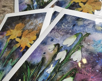 Atmospheric watercolour art, mixed media print from my original. Snowdrops or Daffodils. Wild flower art. Cotswold art