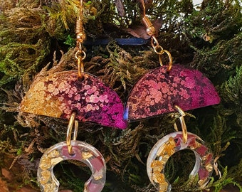 Beautiful Statement earrings -  Alcohol ink Autum vibes, gorgeous Golden hues,  - Gold plated