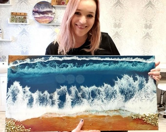 Large resin seascape- full of texture and interest. Stormy seas and frothy tides. Epoxy art. Atmospheric art. Seascape art