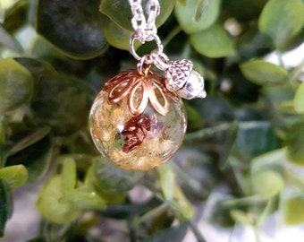 Orb necklace - pressed yellow flower, botanical necklace,