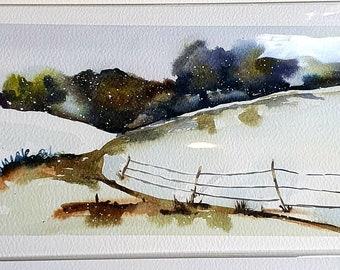 Atmospheric snowy Cotswolds print - landscape. Snowy landscape watercolour.