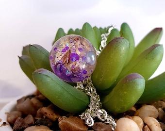 Orb necklace - Purple Statice  flower, botanical necklace,