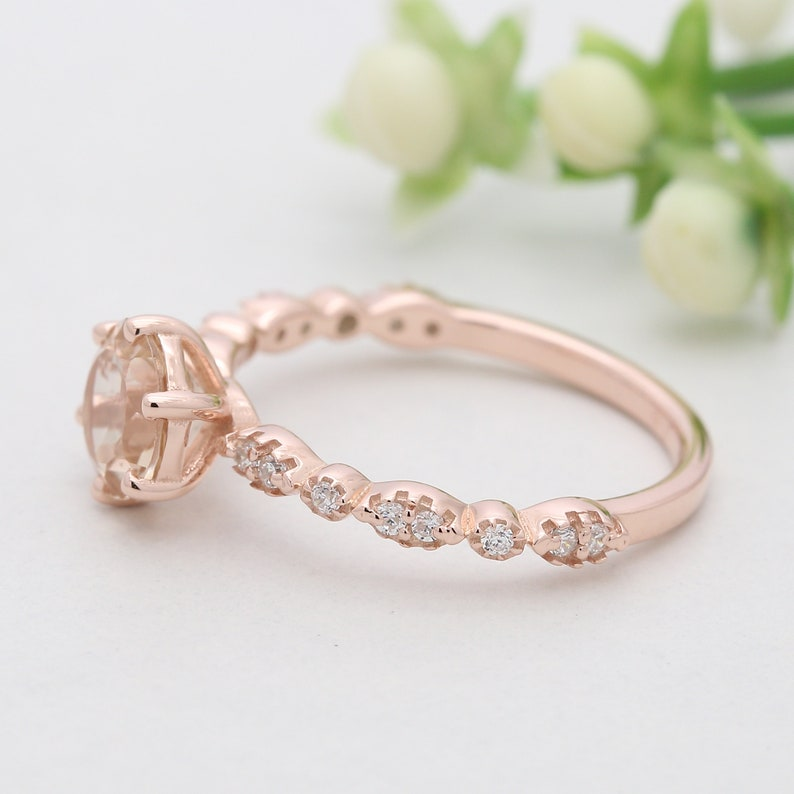 Peach Round Morganite Stone Ring 14K Solid Rose Yellow White Gold Sterling Silver Engagement Wedding Gift Ring GR384