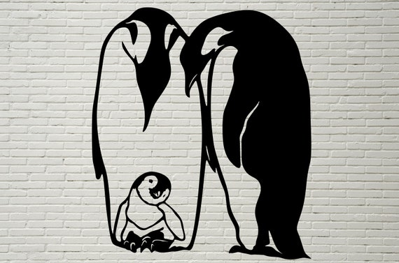 Family Of Penguins Svg Cut File Silhouettes Dxf File Svg Etsy