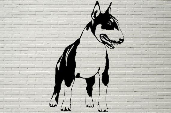 Bull Terrier Svg Dog Design Art Printable Silhouette Bull Etsy