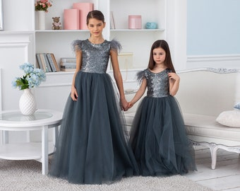 e2c686bb046 Flower Girl Dress Tulle Tutu Sequined Bodice Ball Gown V Shaped Back Dress  Puffy Party Dress Pageant Dress Junior Bridesmaid Dress