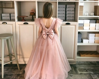 29fb10226 Flower Girl Dress - Pageant Tulle Tutu Dress - Sleeveless Open Back Ball  Gown - Puffy Party Dress - Junior Bridesmaid Dress
