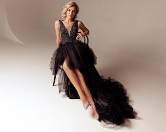 layered tulle wedding dress black, plunge neckline wedding dress with slit, gothic wedding dress backless, black wedding dress with train