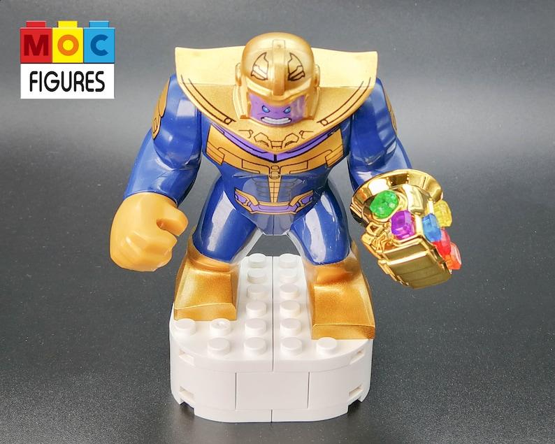Thanos minifigure with gold plated infinity gauntlet, Marvel Avengers  Superhero Thanos mini figure toy gift, Thanos Infinity Gauntlet toy