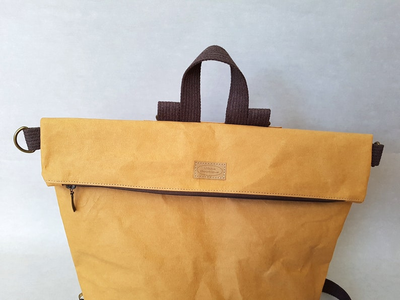 Washable Kraft Paper Backpack cross body bag. paper shoulder bag