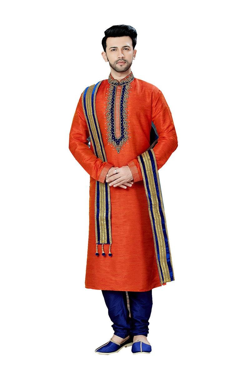 Orange Indian Designer Partywear ethnic Traditional kurta pajama for men