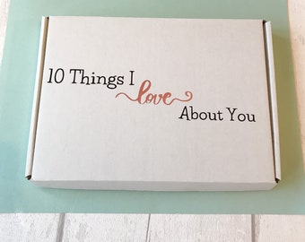 Things I love about you, anniversary gift for him, reasons I love you, origami heart, personalised message, gift for husband, wife,