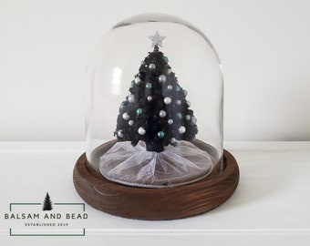 89400d29d1fbab Black handmade miniature chenille pipe cleaner Christmas tree in  7.20inx7.20in glass cloche with wood base decorated in green/ white/ silver