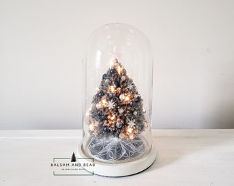 dcf0b74fa8daf9 Silver tinsel Handmade miniature chenille pipe cleaner Christmas tree  inside an 11inx6.5in glass cloche with white painted wooden base