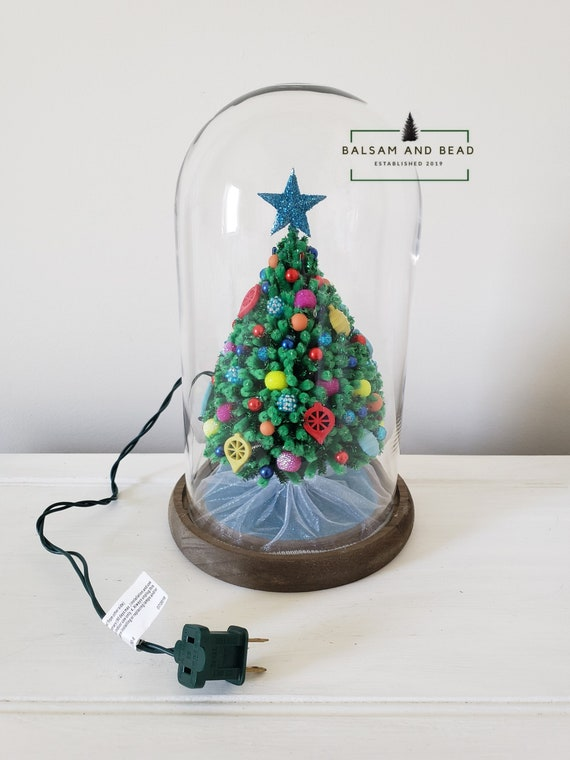 Pipe Cleaner Christmas Trees.Green Handmade Miniature Chenille Pipe Cleaner Christmas Tree Decorated With Colorful Ornaments Inside An 11in X 6 5in Cloche With Wood Base