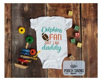 Dolphins baby Cutest Dolphins Fan body customized personalized NAME NUMBER One Bodysuit Funny Baby Child boy Clothing Kid/'s Shower Toddler