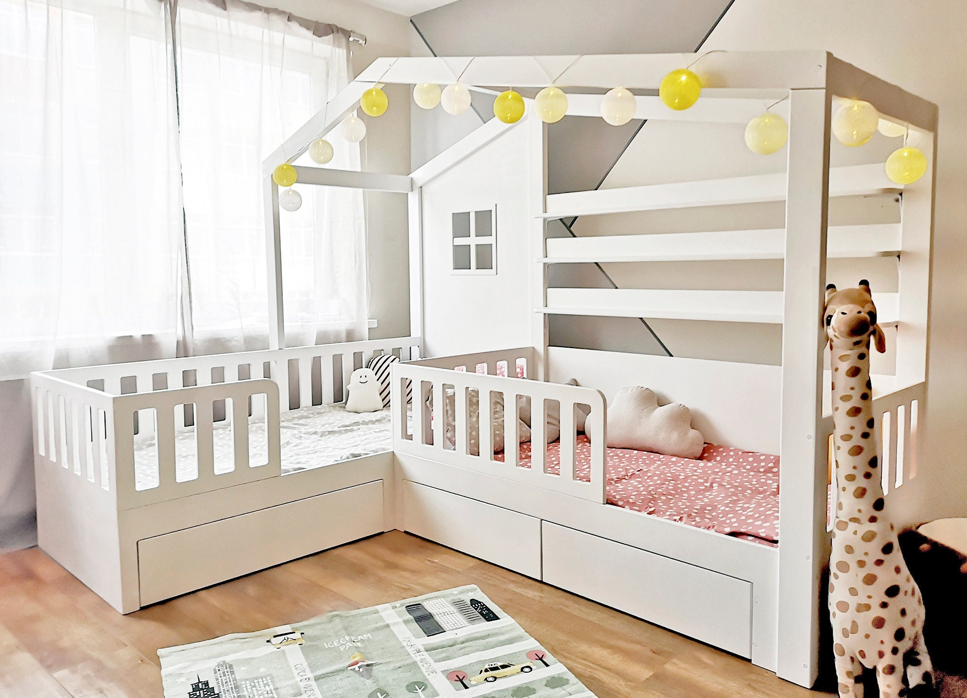 Solid wood L-Shape nook double bed with storage drawers, reading sofa, Montessori children housebed, hausbett, play tent, toddler bed for sale
