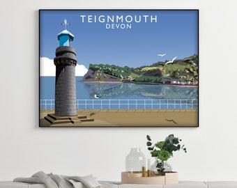Devon landscape acrylic painting English countryside seaside Teignmouth Exeter impressionist print wall fine art