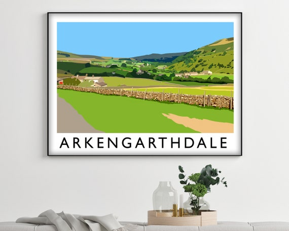 Arkengarthdale Framed Wall Art Vintage Travel Poster - City Art Travel Decor Long Distance Housewarming Gift