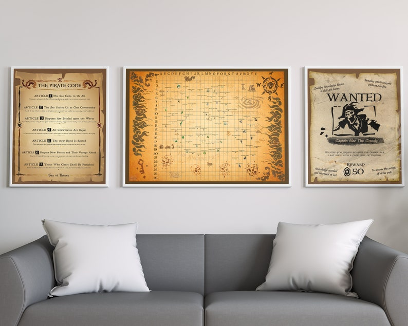 Sea of Thieves Triple Set Personalized Wanted Pirate Poster Pirate Code  Rules Print Pirate Treasure Map - Gaming Gift Set