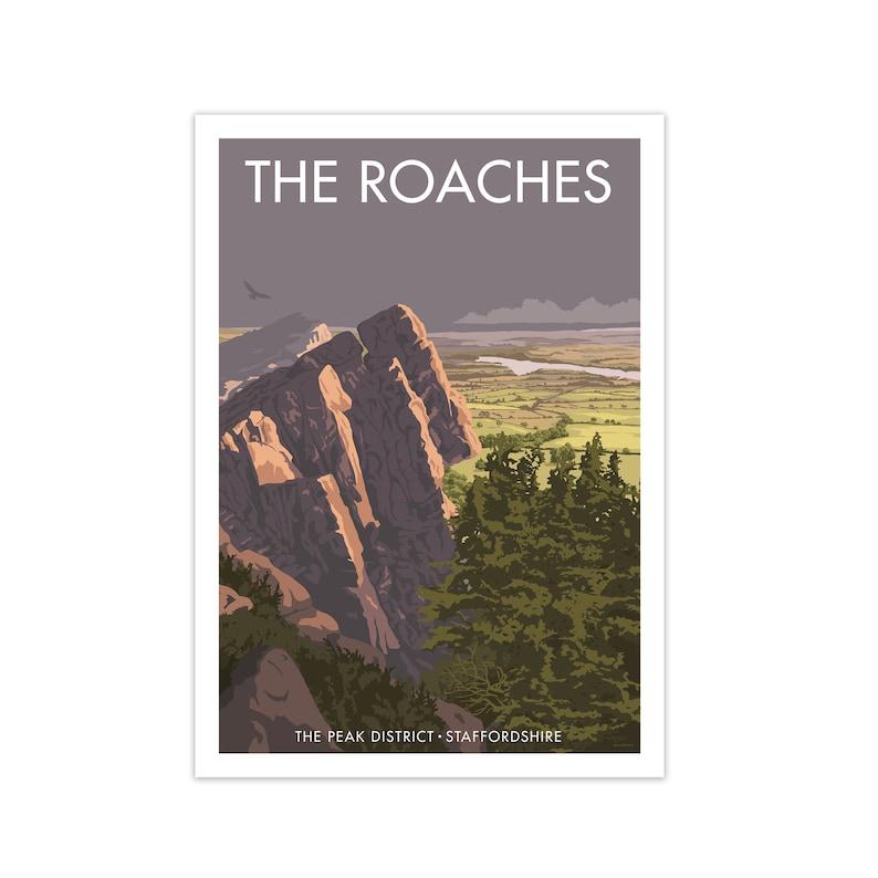 Modern Art Travel Decor Housewarming Gift Art Deco Print Roaches Peak District Framed Travel Art Print City Art Vintage Travel Poster