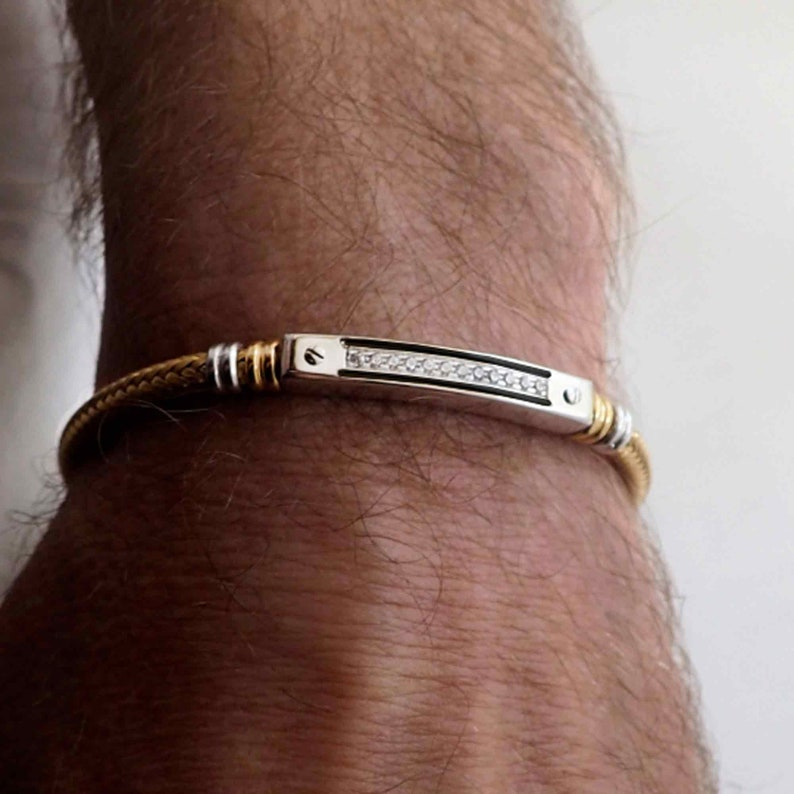Men/'s Bracelet Silver with stones Personalized Bracelet Handmade Jewelry 0,12 Ct in Silver 925 rhodium and gold plated with stones