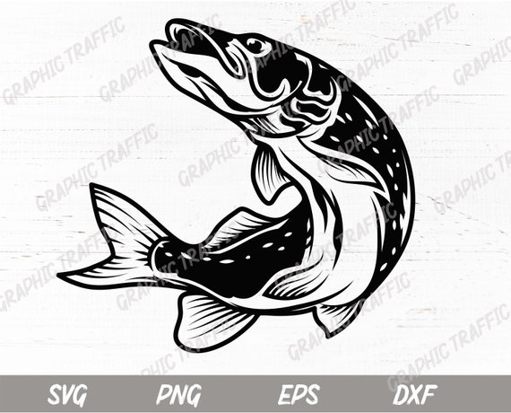 Download Fishing Svg Eps Dxf Png Pike Fish Svg Cut Files For Etsy