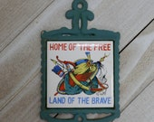 Vintage Small Cast Iron and Tile Wall Trivet Native American Motif quot Home of the Free, Land of the Brave quot