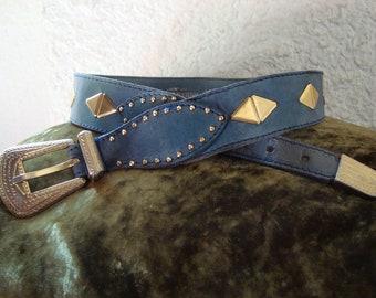 308a9b608d6e Belt vintage SONIA RYKIEL Paris 70 s blue leather made in France