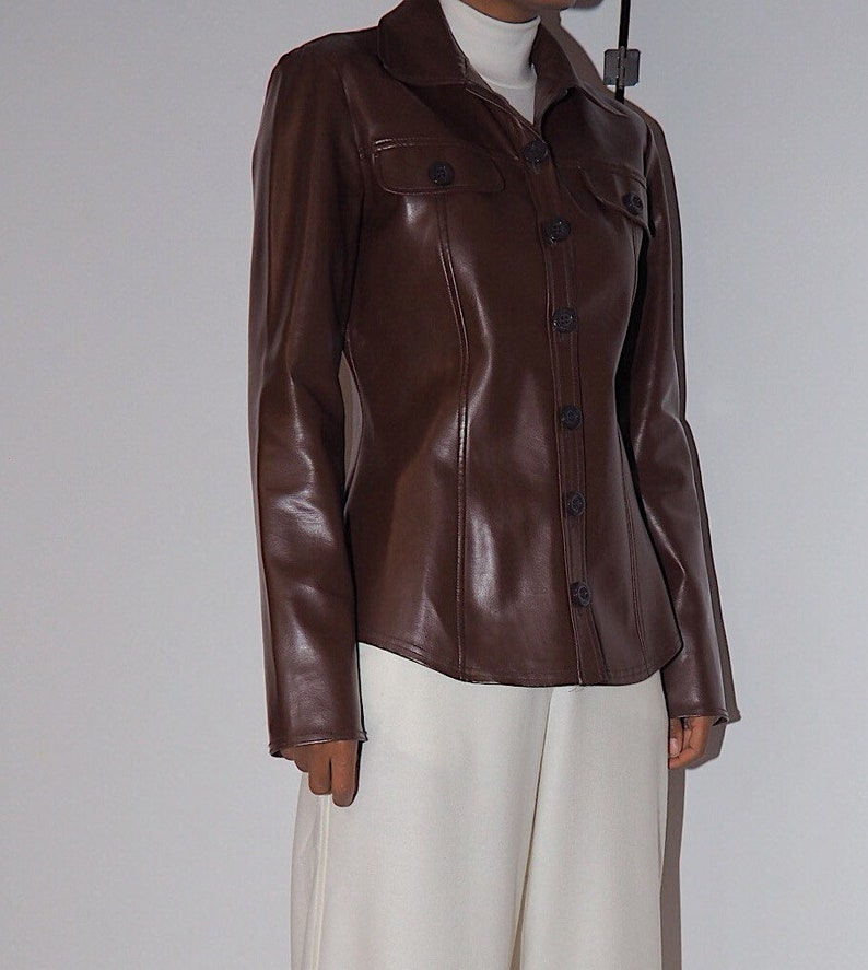 90s faux leather shirt  made in France  leather blouse  dark chocolate  dark brown jacket  brown leather jacket vintage leather jacke