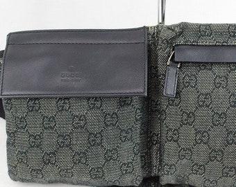 ed7bea5bacc11 Vintage Authentic Gucci GG Monogram Waist Designer Pouch Small Travel  Boston Hand Bag Purse Retro FREE SHIPPING