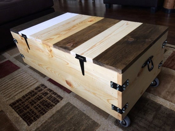 Trunk Coffee Table On Wheels Wood Rustic Industrial Coffee Table With Storage Or Use As A Bench With Storage Custom Made From Pine Wood