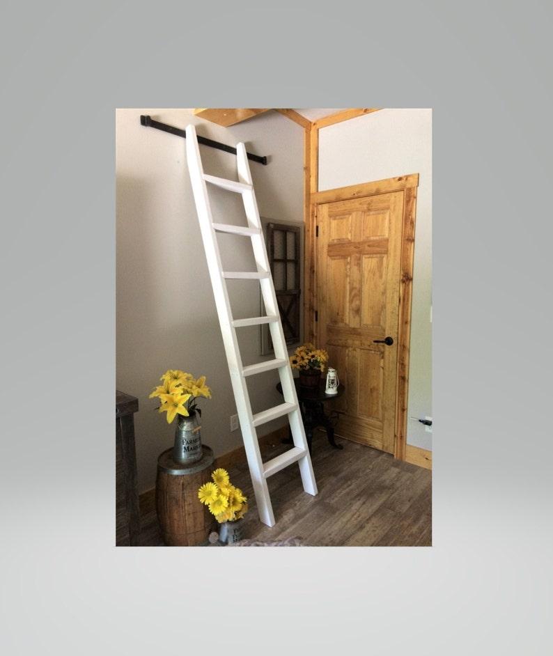 6ft  8.5ft Ladder+LIBRARY KIT Option 6.6 Ft Wide Rail Kit+Wheels. Rolling  Ladder.Wood Loft Ladder,Library Ladder. Kitchen,Tiny House,closets