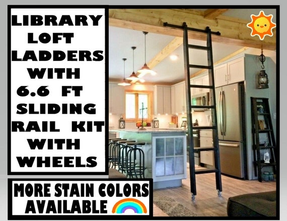 Black Ladder Library Kit Hardware Option 6 6 Ft Sliding Rail Etsy