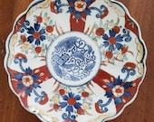 Vintage or Antique Arita or Imari Shallow Bowl Polychrome Enamel Hand Painted Dish
