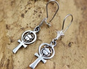 Egyptian Handmade Sterling Silver Dangle Earrings Costume Jewelry Ancient Scarab Beetle Ankh Cross Key of Life