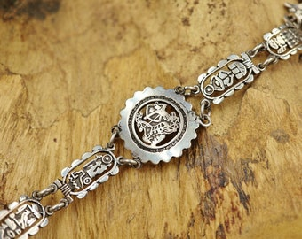 984f0ce23d29 Amazing Egyptian Sterling Silver Chain Bracelet Costume Jewelry..Ancient  Ankh Cross