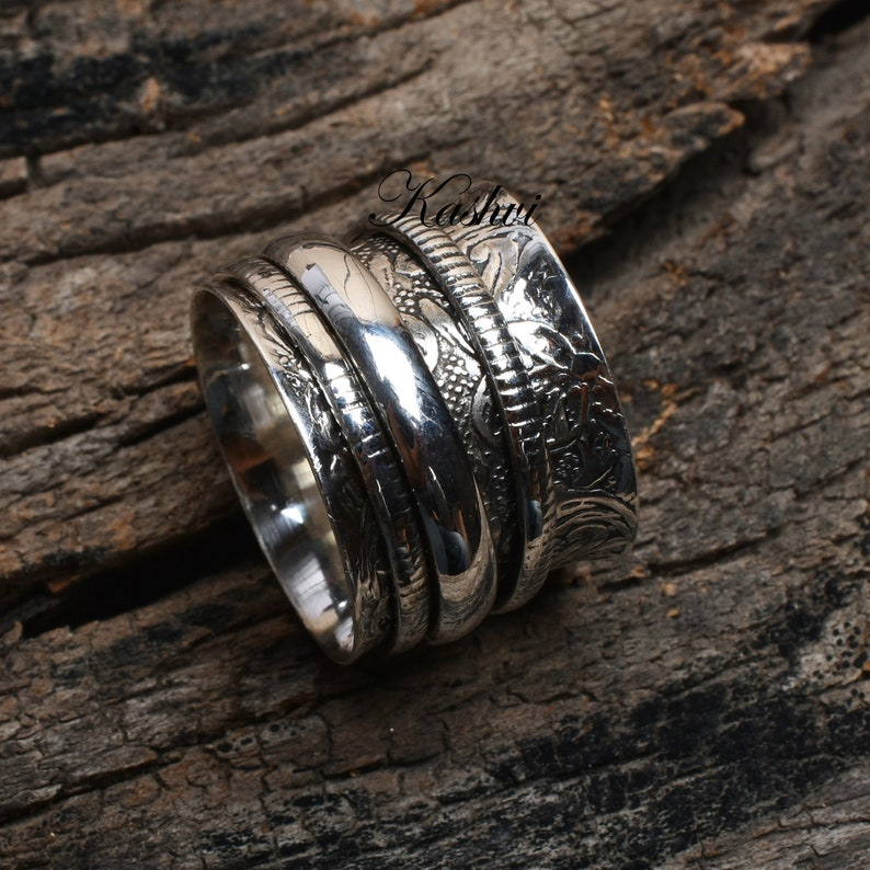 Promise Ring Worry Ring 925 Silver Ring Boho Ring Anxiety Ring Gift For Her Meditation Ring Thumb Ring Women Ring Spinner Ring