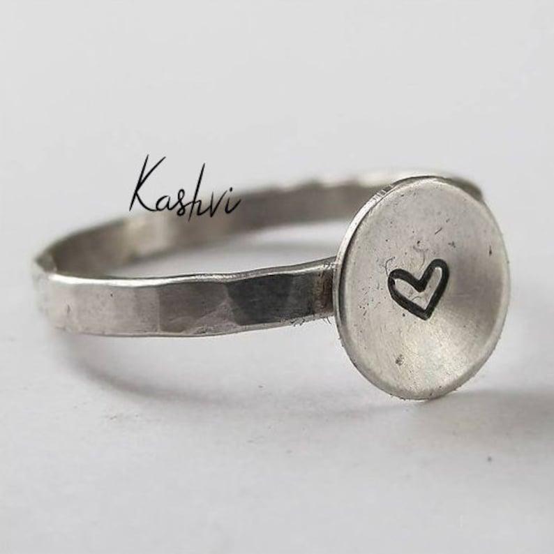 Women Ring Handmade Ring Plain Silver Ring Worry Ring Heart Ring Boho Ring Statement Ring 925 Silver Ring Gift Ring Stacking Ring