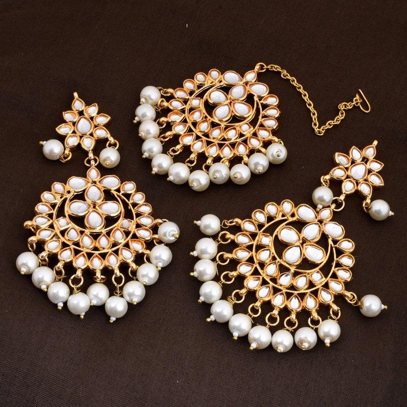 Designer Weeding Earring With Tikka Jhumka Kundan Earring Set Kundan Gold Plated Earring Set Wedding Earring Traditional Jewelry Set