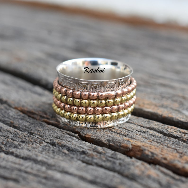 Women Ring Meditation Ring Spinner Ring Anxiety Ring Gift For Her Promise Ring Boho Ring 925 Silver Ring Thumb Ring Worry Ring