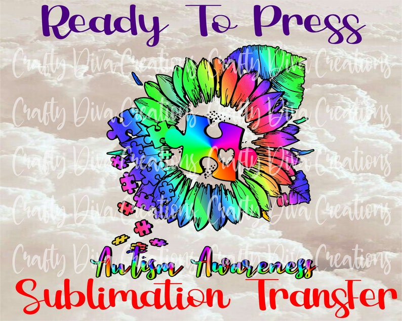 Autism Awareness ready to press sublimation transfer full color transferheat transfer