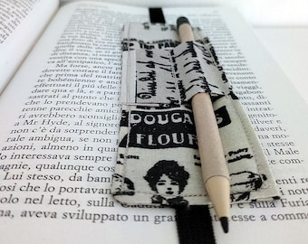 """Classic """"Wrapping"""" bookmark (beige and black, with lettering)"""