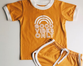 5f8b124a69 kids organic cotton ringer t-shirt shorts set vintage retro 70s style crew  tee mustard unisex girls boys baby toddler rainbow good vibes