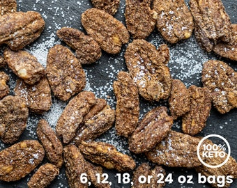 Keto Paleo Candied Pecans - Low Carb, Grain Free, Gluten Free, Sugar Free, Diabetic Friendly, Healthy Snacks, Gift for Health Nut, Keto Gift