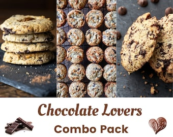 Keto Paleo Chocolate Lover Cookies Combo or Gift Set - Low Carb, Grain Free, Gluten Free, Sugar Free, Diabetic Friendly, Gift for Health Nut