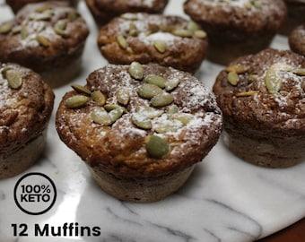 Keto Paleo Pumpkin Spice Muffins - Dairy Free, High Protein, Low Carb, Grain Free, Gluten Free, Sugar Free, Diabetic Friendly, Keto Gift