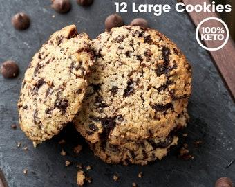 Keto Paleo Chocolate Chunk Cookies - Low Carb, Grain Free, Gluten Free, Sugar Free, Diabetic Friendly, Gift for Health Nut, Keto Gift